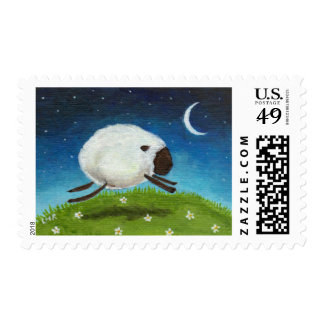Whimsical Leaping White Sheep Illustration Postage