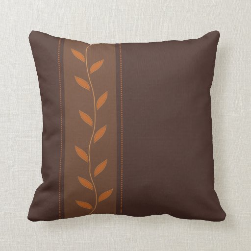 Throw Pillows Brown : Whimsical Leaves Brown Throw Pillows Zazzle