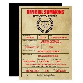 Whimsical Legal Subpoena Party Invitations