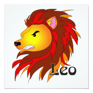 "Whimsical Leo Invitations 5.25"" Square Invitation Card"