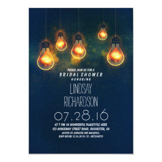 "whimsical light bulbs blue romantic bridal shower 5"" x 7"" invitation card"