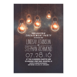 """whimsical light bulbs romantic engagement party 5"""" x 7"""" invitation card"""