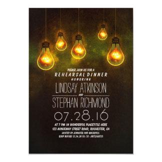 """whimsical light bulbs romantic rehearsal dinner 5"""" x 7"""" invitation card"""