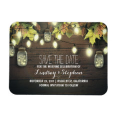 Whimsical Light Fireflies Mason Jars Save The Date Magnet at Zazzle