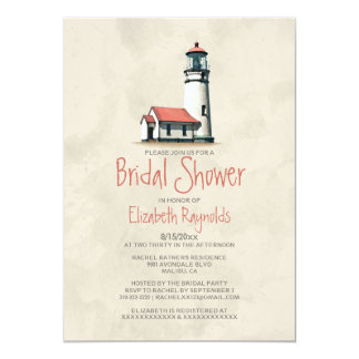 "Whimsical Lighthouse Bridal Shower Invitations 5"" X 7"" Invitation Card"