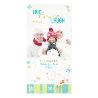 Whimsical Lil Bird Fun White Christmas Photo Card