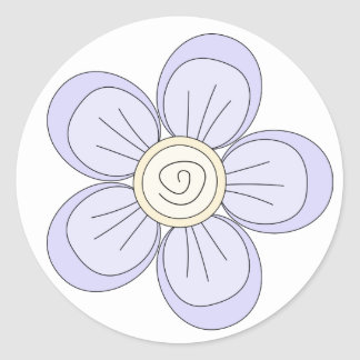 Whimsical lilac and yellow flower stickers