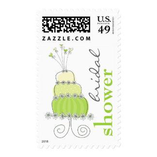 Whimsical Lime Wedding Cake Bridal Shower Stamps