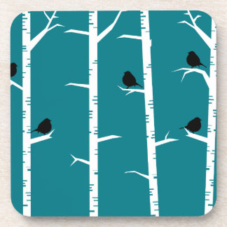 Whimsical Little Black Birds and White Birch Trees Coaster