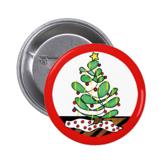Whimsical Little Christmas Tree Pinback Button