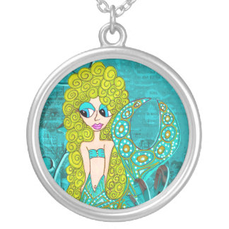 Whimsical Little Mermaid Round Pendant Necklace