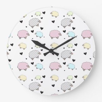 Whimsical Little Pastel Sheep Clock