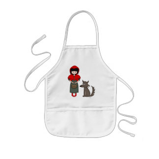 Whimsical Little Red Riding Hood Girl and Wolf Aprons