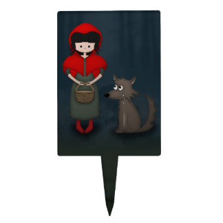 Whimsical Little Red Riding Hood Girl and Wolf Cake Topper