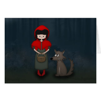 Whimsical Little Red Riding Hood Girl and Wolf Cards