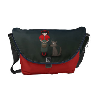 Whimsical Little Red Riding Hood Girl and Wolf Courier Bag