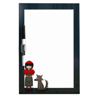 Whimsical Little Red Riding Hood Girl and Wolf Dry-Erase Board