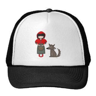 Whimsical Little Red Riding Hood Girl and Wolf Trucker Hat