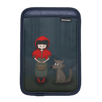 Whimsical Little Red Riding Hood Girl and Wolf iPad Mini Sleeve