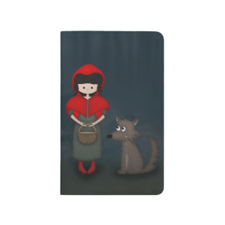 Whimsical Little Red Riding Hood Girl and Wolf Journal