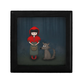 Whimsical Little Red Riding Hood Girl and Wolf Keepsake Box