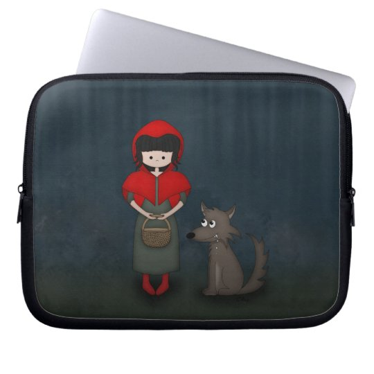 Whimsical Little Red Riding Hood Girl and Wolf Laptop Sleeve