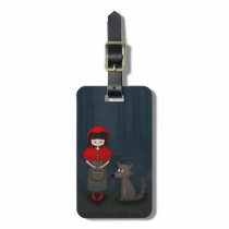 Whimsical Little Red Riding Hood Girl and Wolf Luggage Tag
