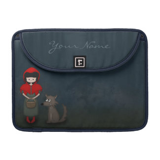 Whimsical Little Red Riding Hood Girl and Wolf MacBook Pro Sleeve