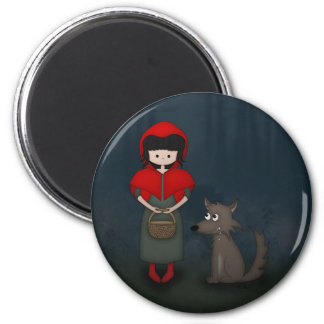 Whimsical Little Red Riding Hood Girl and Wolf Refrigerator Magnet
