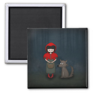Whimsical Little Red Riding Hood Girl and Wolf Refrigerator Magnets