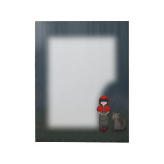 Whimsical Little Red Riding Hood Girl and Wolf Memo Note Pad