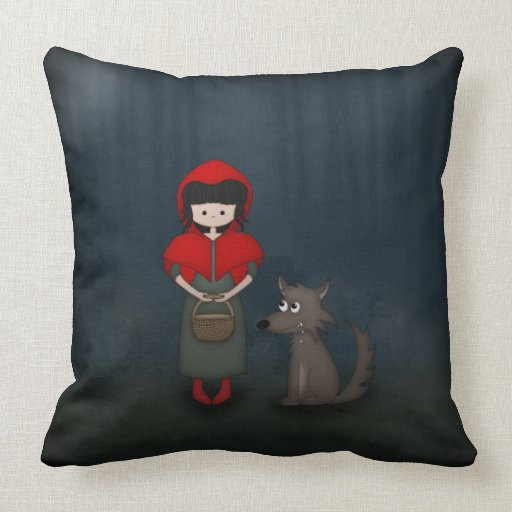Whimsical Little Red Riding Hood Girl and Wolf Pillows