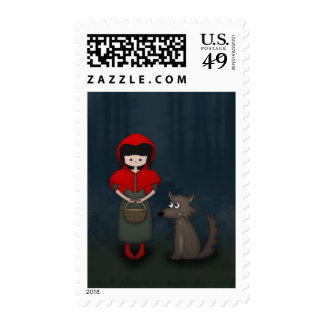 Whimsical Little Red Riding Hood Girl and Wolf Stamp