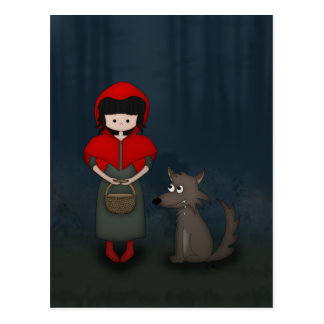 Whimsical Little Red Riding Hood Girl and Wolf Postcard