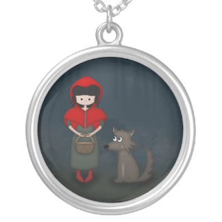 Whimsical Little Red Riding Hood Girl and Wolf Round Pendant Necklace
