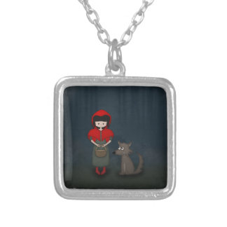 Whimsical Little Red Riding Hood Girl and Wolf Silver Plated Necklace