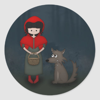 Whimsical Little Red Riding Hood Girl and Wolf Round Stickers