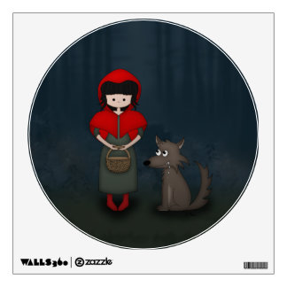 Whimsical Little Red Riding Hood Girl and Wolf Wall Sticker