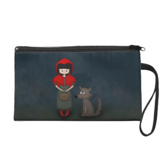 Whimsical Little Red Riding Hood Girl and Wolf Wristlet