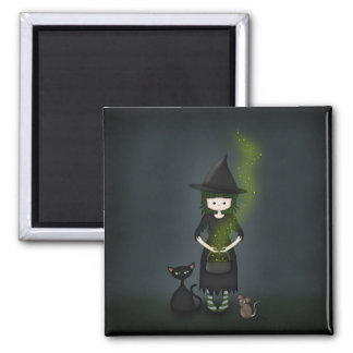 Whimsical Little Witch Girl with Cat and Mouse 2 Inch Square Magnet