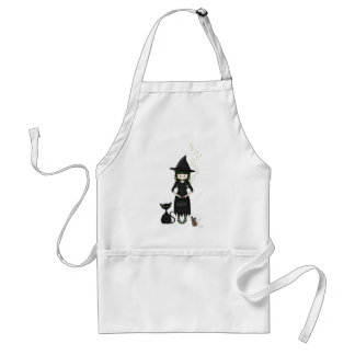 Whimsical Little Witch Girl with Cat and Mouse Apron