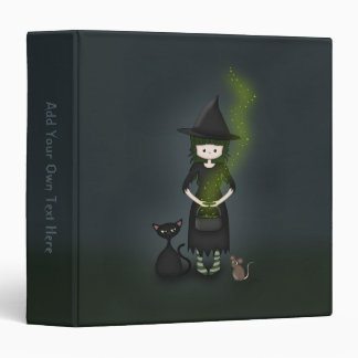 Whimsical Little Witch Girl with Cat and Mouse 3 Ring Binder