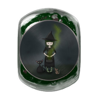 Whimsical Little Witch Girl with Cat and Mouse Jelly Belly Candy Jar