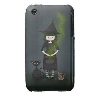 Whimsical Little Witch Girl with Cat and Mouse iPhone 3 Case-Mate Case