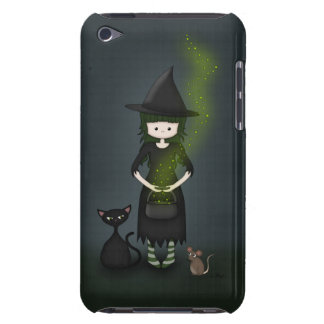 Whimsical Little Witch Girl with Cat and Mouse iPod Touch Cases
