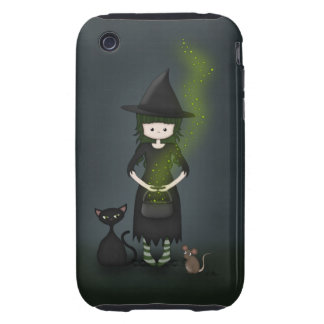 Whimsical Little Witch Girl with Cat and Mouse Tough iPhone 3 Cover