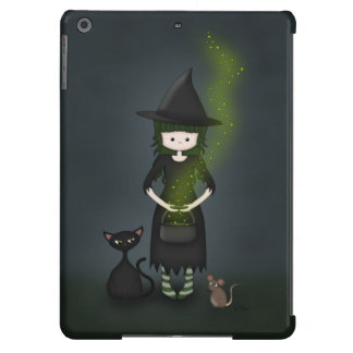 Whimsical Little Witch Girl with Cat and Mouse iPad Air Case