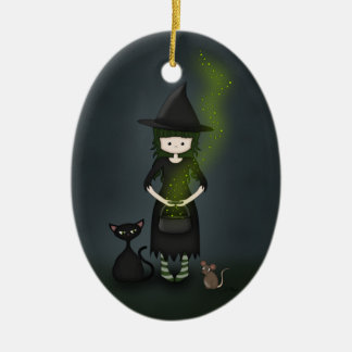 Whimsical Little Witch Girl with Cat and Mouse Ceramic Ornament