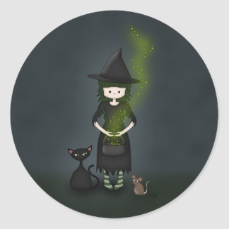 Whimsical Little Witch Girl with Cat and Mouse Classic Round Sticker
