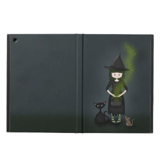 Whimsical Little Witch Girl with Cat and Mouse Case For iPad Air